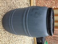 Grey 220 / 200 Litre Plastic HDPE Barrels, Drum Tank Water Butt Waterbutt Brewing Home Brew
