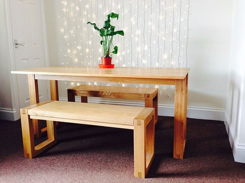 Price Drop Futon Company Oak Console Table And Pair Of Benches Light Use