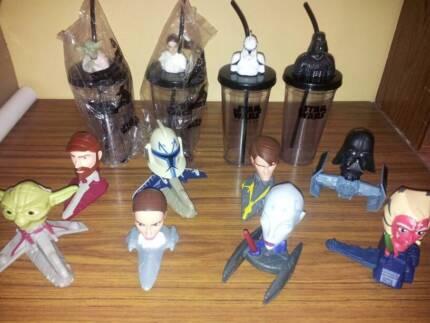Star Wars toys ( set of 8 ) & Plastic cups ( set of 4 ) Elizabeth Vale Playford Area Preview
