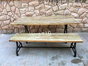 "71"" Savannah solid mango wood dining harvest table with cast iron legs"