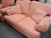 FREE Pink fabric sofa set: 1 double seater & 2 single seater