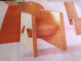 Cardboard armchair and table