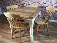 Extending Rustic Farmhouse Dining Table Set - Drop Leaf Painted in Farrow & Ball - Antique Chairs