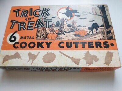Vintage 1960s Trick or Treat Halloween metal cookie cutters in original box