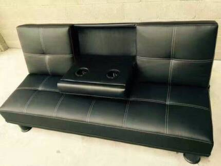 Brand New Black PU Leather Sofa Bed with Cup Holder