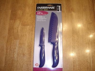 "NEW Farberware Classic  2 Piece Knife Set 7"" Santoku 3.5"" Pa"