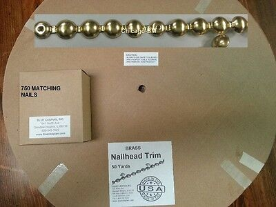 150 ft BRASS Tackstrips Roll &750 Nail Decorativ Upholstery Strip Nailhead Trim