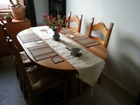 Solid Oak Dining Table with 4 Matching Chairs