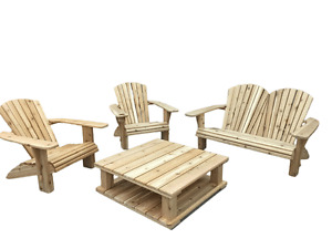 4 Piece Hand Crafted Cedar Adirondack Patio Set