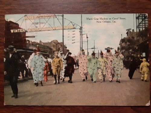1910 New Orleans Mardi Gras Postcard with Coulon v. Kendrick Boxing Reference