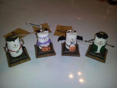 Lot of 4 Original Midwest S'MORES Smores Halloween Ornaments Dracula Bat Cat Fra (Halloween Smores)