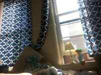 Beautiful Panel Curtains with rods.