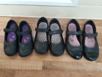 5 pairs of shoes - 3 Clarks/M&S School shoes, plimsolls and Frozen slippers (bundle)