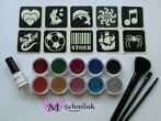 Glittertattoo set XL incl 20 sjablonen tattoo glitter groot
