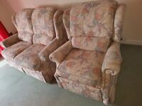 2 Seater and one Recliner fabric sofa
