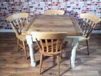 Extending Rustic Farmhouse Dining Table Set with Chairs - Drop Leaf - in Farrow & Ball
