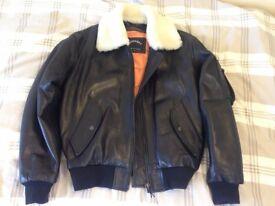 Superb mat black flying leather jacket size M (New)