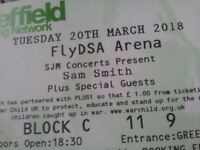 2x Sam Smith FRONT SECTION SEATED Sheffield Arena (FREE PARKING INCLUDED)