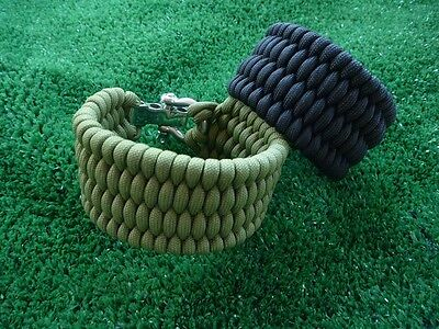 Adjustable Paracord Bracelet w SS Shackle Trilobite - Wide fishtail (EXTRA WIDE)