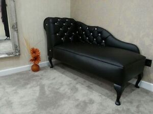 Leather Crystal Diamante Chaise Lounge Chair Several Colours NEW EBay