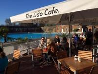 Weekend poolside kiosk serving staff for summer - The Lido Cafe, Herne Hill/Brixton