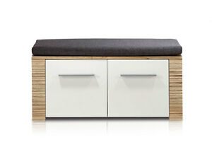 candra garderobenbank sitzbank bank f garderobe dekor eiche hell mit sitzkissen ebay. Black Bedroom Furniture Sets. Home Design Ideas
