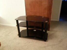BLACK GLASS TV STAND GOOD CONDITION