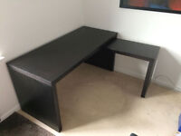 IKEA Malm desk with pull-out panel, black-brown