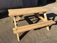 brand new treated wood picnic bench