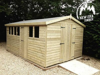 16x8 Heavy Duty 'Olivia' Tanalised Apex Wooden Garden Shed, Sheds, Workshop