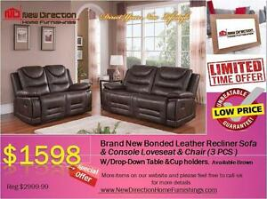 Inventory Blow Out Sale-Brand New 3PCS High Grade Bonded Leather Recliner Set@New Direction Home Furnishings
