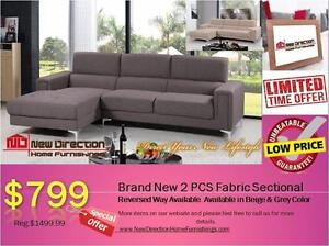 BRAND NEW 2PCS FABRIC SECTIONAL ON SALE@New Direction Home Furnishings