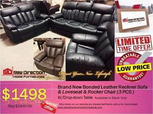Inventory Blow Out Sale-Brand New 3pcs Bonded Leather Recliner Set Blowout@New Direction Home Furnishings