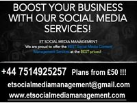 Don't have time to manage your SOCIAL MEDIA profiles? Call us now 07514925257 ET Social media