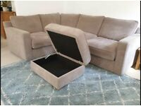 (Free local delivery) Immaculate Grey Corner Sofa with Storage footstool