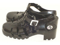 BRAND NEW JU JU BLACK JELLIES JELLY SANDALS GB MADE SIZE 8 UK L@@K SHOES BOOTS.*