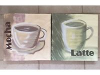 2 x kitchen canvas coffee