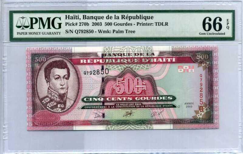 Haiti 500 Gourdes 2003 P 270 Gem UNC PMG 66 EPQ