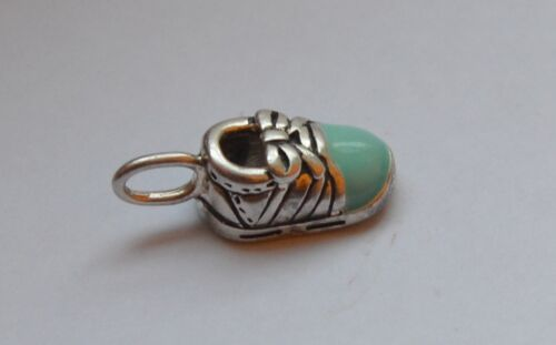 STERLING SILVER BABY BOOT WITH GREEN ENAMEL CHARM  PENDANT