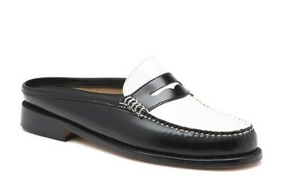 Bass Women's Weejuns Wynn 71-22864 Leather Loafer BLK/WHITE White Slip On Shoes