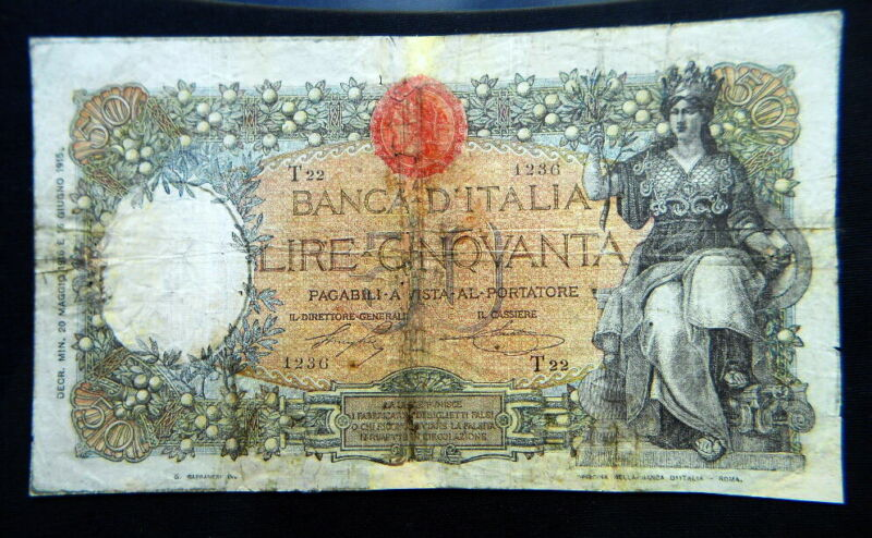 1916 ITALY KINGDOM RARE Banknote 50 lire BUOI F / MB  HIGH QUALITY