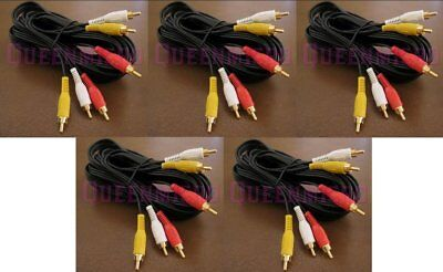 5 Pack 6Ft 3-RCA Composite Audio Video AV Gold Plated Cable Male to Male 6 Foot 6 Composite Audio