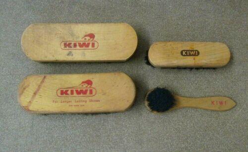 KIWI Shoe brush group of 4 Vintage shoe care accessories Kiwi brushes