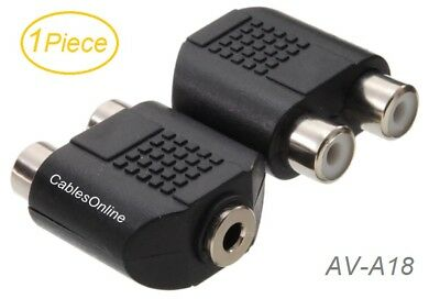 1-Piece, 2-RCA Female to 3.5mm Stereo Female Adapter, CablesOnline AV-A18 2 Rca Female Adapter