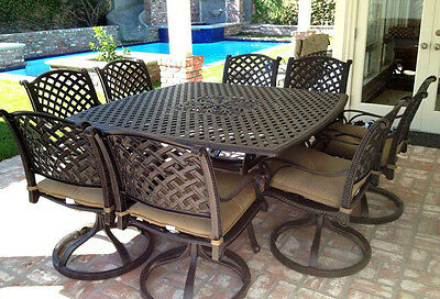 Cast aluminum patio furniture 9pc outdoor dining set with 64 square table Bronze Cast Aluminum Dining Furniture
