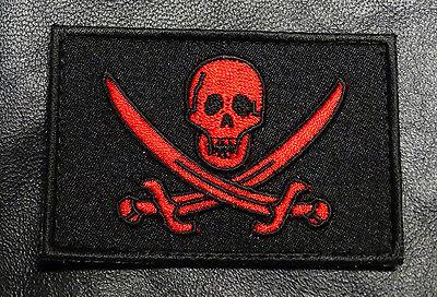 CALICO JACK JOLLY ROGER  PIRATE FLAG SKULL SWORDS HOOK LOOP  PATCH