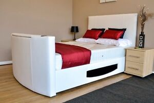 Double White TV Bed. With FREE SMART 32