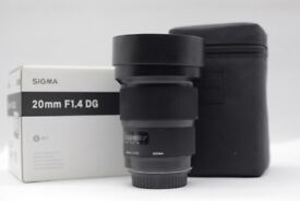 Sigma Art 20mm 1.4 wide angles lens Canon EF fit