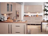 Slab Cream Gloss Complete Kitchen For Only £895