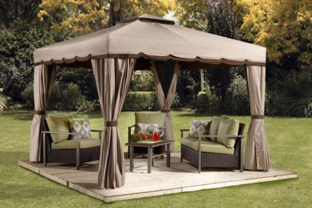 Rideaux pour gazebo roma 10x10 patio garden furniture for Kijiji longueuil meuble